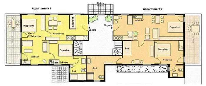 Grundriss Wohnung 1 + 2